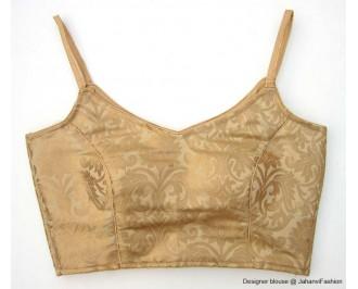 Pure Brocade Strap Blouse Golden