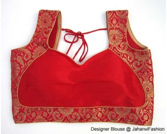 Pure Brocade Sweet Heart Neck Des Gner Red