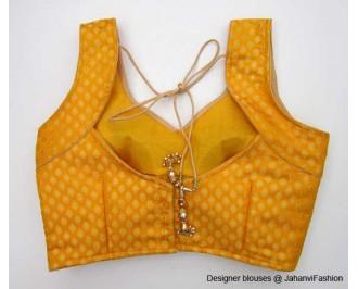 Pure Brocade Sweet Heart Neck Ycut Deep Yellow
