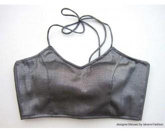 Shimmer Blouse Bikini Style Black
