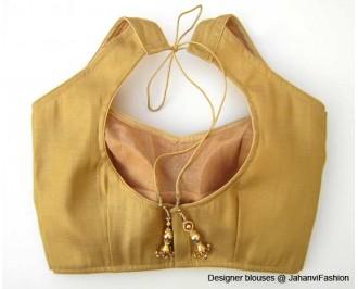 Shimmer Blouse Semi Healter Style Golden