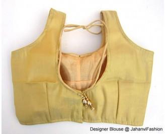 Shimmer Blouse Sweet Heart Neck Golden