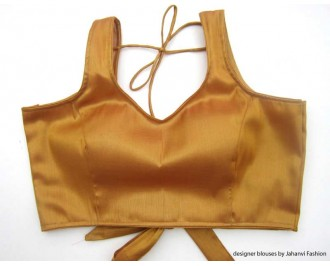 Shimmer Blouse Sweet Heart Neck With Back Tie Copper