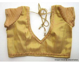 Shimmer Blouse Sweet Heart Neck With Chandery Sleeves Golden