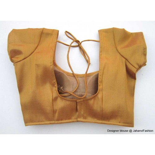 Shimmer Blouse Sweet Heart Neck With Sleeves Copper
