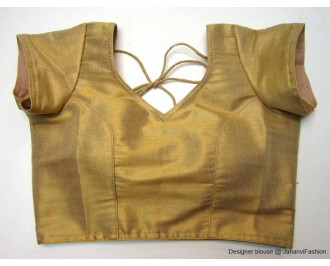 Shimmer Blouse Sweet Heart Neck With Sleeves Golden