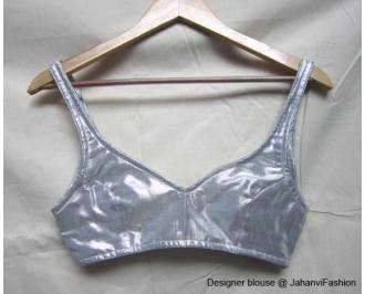 Shimmer Blouse With Strap Shoulder Silver